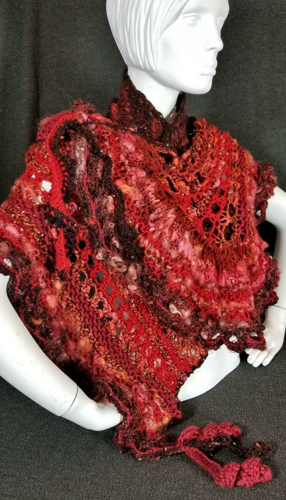 Hand-spun yarn knit and crochet into lace shawl/capelet